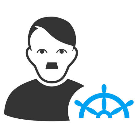 January 28, 2018: a raster illustration of Captain with fuhrer Hitler face. Flat bicolor blue and gray icon symbol. Pictogram is isolated on a white background. Sajtókép