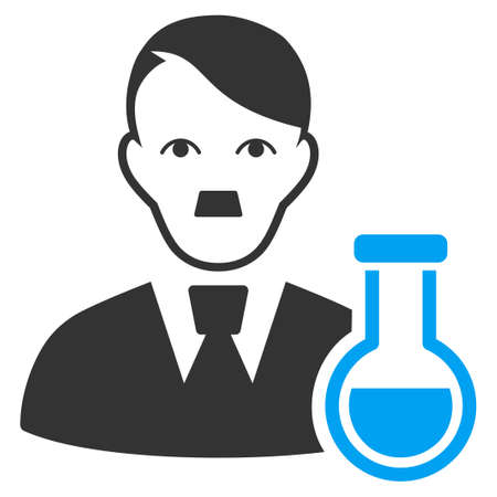 January 28, 2018: a raster illustration of Chemical Scientist with fuhrer Hitler face. Flat bicolor blue and gray icon symbol. Pictogram is isolated on a white background.