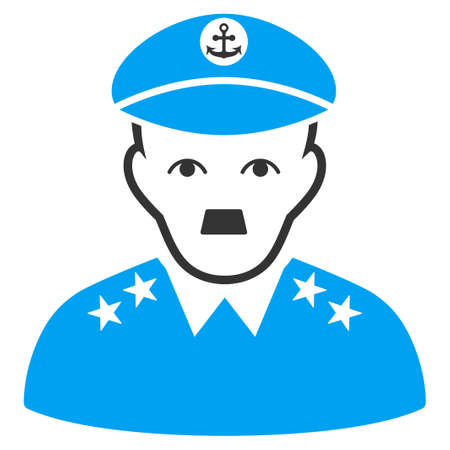 January 28, 2018: a raster illustration of Military Captain with Adolf Hitler face. Flat bicolor blue and gray icon symbol. Pictogram is isolated on a white background.