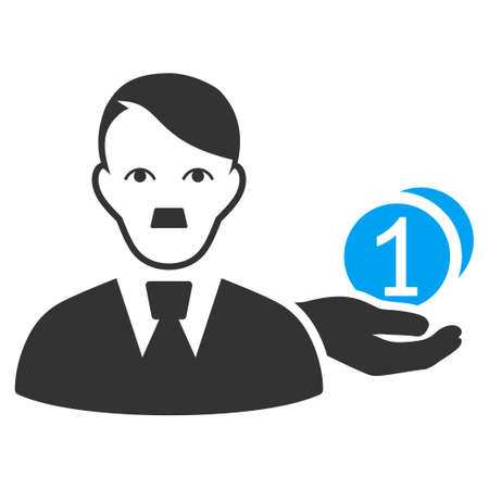 January 28, 2018: a raster illustration of Money Payer with dictator Hitler face. Flat bicolor blue and gray icon symbol. Pictogram is isolated on a white background.