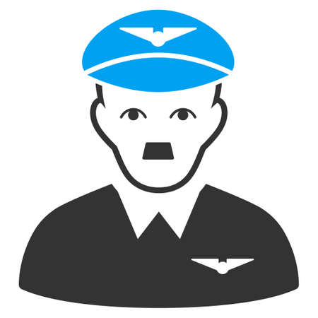 January 28, 2018: a raster illustration of Pilot with fuhrer Hitler face. Flat bicolor blue and gray icon symbol. Pictogram is isolated on a white background.