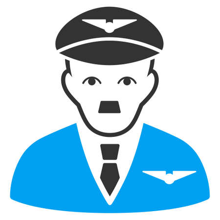 January 28, 2018: a raster illustration of Pilot with dictator Hitler face. Flat bicolor blue and gray icon symbol. Pictogram is isolated on a white background.