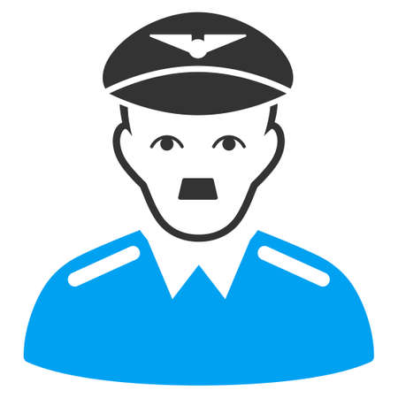 January 28, 2018: a raster illustration of Pilot with Adolf Hitler face. Flat bicolor blue and gray icon symbol. Pictogram is isolated on a white background. Sajtókép