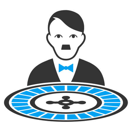 January 28, 2018: a raster illustration of Roulette Croupier with dictator Hitler face. Flat bicolor blue and gray icon symbol. Pictogram is isolated on a white background.