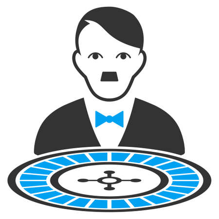 January 28, 2018: a raster illustration of Roulette Dealer with fuhrer Hitler face. Flat bicolor blue and gray icon symbol. Pictogram is isolated on a white background.