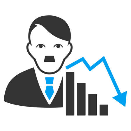 January 28, 2018: a raster illustration of Stock Loser with dictator Hitler face. Flat bicolor blue and gray icon symbol. Pictogram is isolated on a white background.