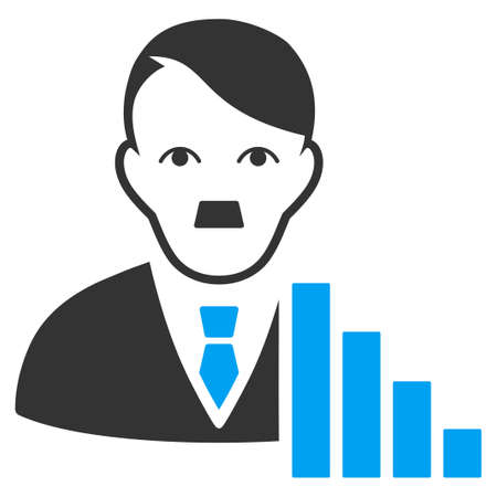 January 28, 2018: a raster illustration of Stock Trader with Adolf Hitler face. Flat bicolor blue and gray icon symbol. Pictogram is isolated on a white background.
