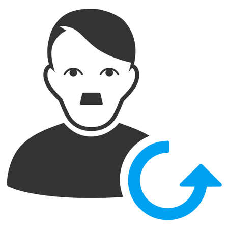 January 28, 2018: a raster illustration of Update User with Adolf Hitler face. Flat bicolor blue and gray icon symbol. Pictogram is isolated on a white background.
