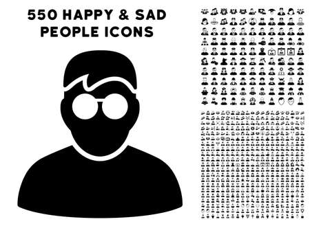 Boy pictograph with 550 bonus pity and happy person pictograms. Vector illustration style is flat black iconic symbols.