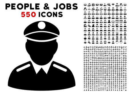 Colonel icon with 550 bonus pity and glad people clip art. Vector illustration style is flat black iconic symbols.