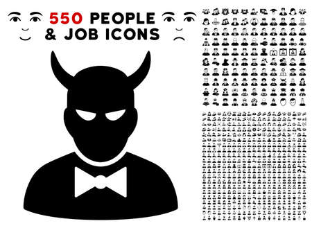 Devil icon with 550 bonus pitiful and happy user images. Vector illustration style is flat black iconic symbols. Ilustração