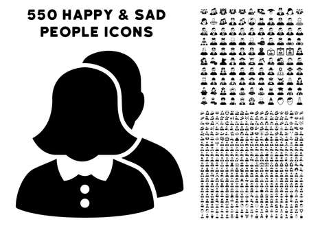 Family pictograph with 550 bonus pitiful and happy user pictures. Vector illustration style is flat black iconic symbols. Illustration