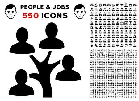 Genealogy Tree icon with 550 bonus happy and sad jobs images. Vector illustration style is flat black iconic symbols. Vettoriali