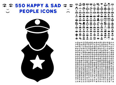 Guard Man pictograph with 550 bonus sad and happy jobs pictograms. Vector illustration style is flat black iconic symbols.