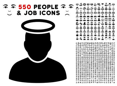 Holy Man pictograph with 550 bonus pitiful and happy user images. Vector illustration style is flat black iconic symbols.