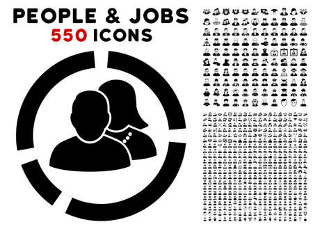 People Diagram icon with 550 bonus pitiful and glad user pictograms. Vector illustration style is flat black iconic symbols.
