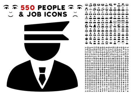 Police Officer pictograph with 550 bonus pitiful and happy people pictographs. Vector illustration style is flat black iconic symbols. Ilustração