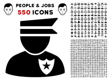 Policeman pictograph with 550 bonus sad and happy person pictograms. Vector illustration style is flat black iconic symbols. Illustration