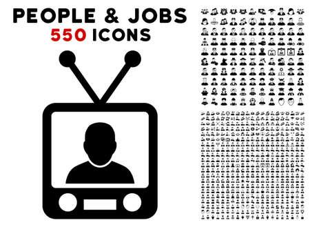 TV News icon with 550 bonus sad and happy user pictures. Vector illustration style is flat black iconic symbols. Illustration