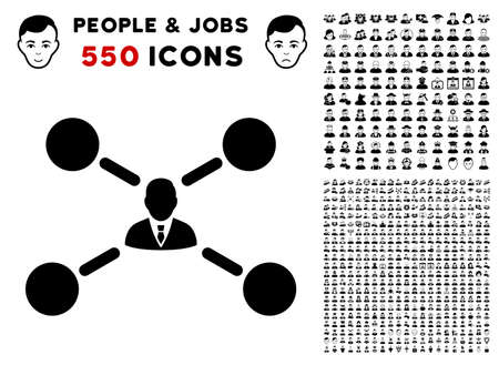 User Links icon with 550 bonus pity and happy user pictographs. Vector illustration style is flat black iconic symbols.