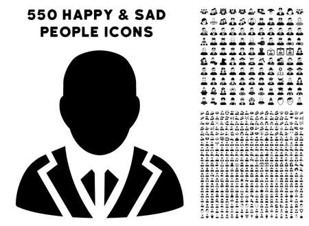 Valet pictograph with 550 bonus pitiful and glad men symbols. Vector illustration style is flat black iconic symbols.