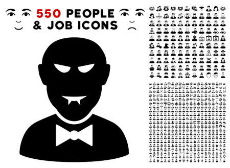 Vampire pictograph with 550 bonus pity and happy person clip art. Vector illustration style is flat black iconic symbols.