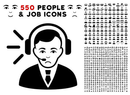 Unhappy Call Center Operator pictograph with 550 bonus sad and glad men pictograms. Vector illustration style is flat black iconic symbols.