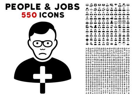 Sad Catholic Shepherd pictograph with 550 bonus sad and glad people symbols. Vector illustration style is flat black iconic symbols.