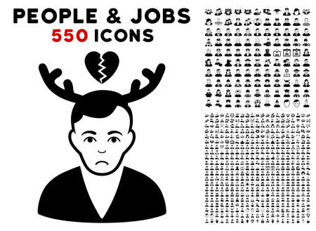Pitiful Deceived Horned Husband icon with 550 bonus pitiful and happy men symbols. Vector illustration style is flat black iconic symbols.