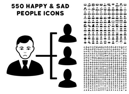 Sadly Distribution Manager icon with 550 bonus pitiful and happy user icons. Vector illustration style is flat black iconic symbols.