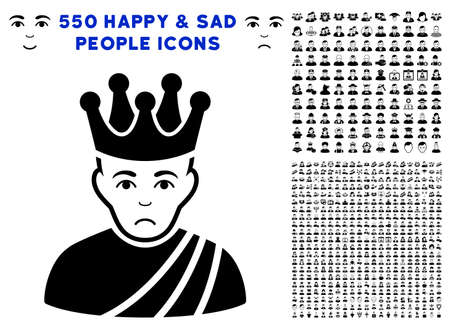 Sad Emperor pictograph with 550 bonus pitiful and happy jobs images. Vector illustration style is flat black iconic symbols.