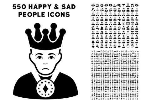 Pitiful King pictograph with 550 bonus pity and happy people symbols. Vector illustration style is flat black iconic symbols.
