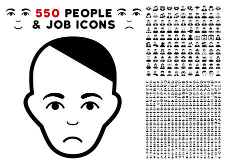 Pitiful Patient Head icon with 550 bonus pitiful and happy user clip art. Vector illustration style is flat black iconic symbols.