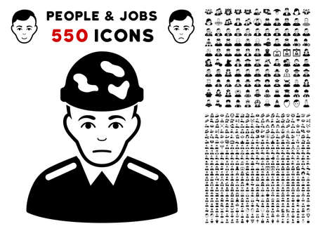 Unhappy Soldier pictograph with 550 bonus pitiful and glad men pictograms. Vector illustration style is flat black iconic symbols.