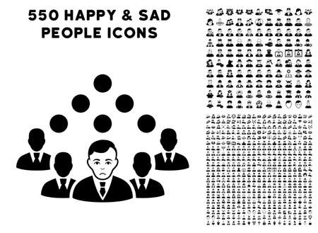 Dolor Staff Team icon with 550 bonus pitiful and happy men pictographs. Vector illustration style is flat black iconic symbols.