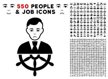 Pitiful Captain pictograph with 550 bonus pitiful and glad user design elements. Vector illustration style is flat black iconic symbols.