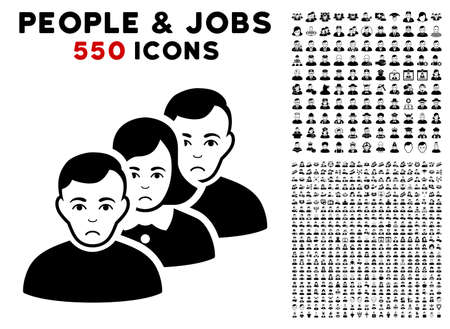Unhappy People Queue icon with 550 bonus pitiful and glad person pictograms. Vector illustration style is flat black iconic symbols.
