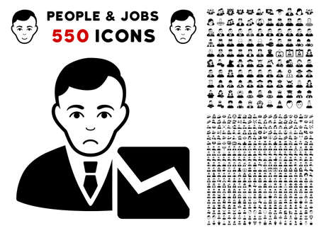 Unhappy Stock Trader icon with 550 bonus sad and happy person pictures. Vector illustration style is flat black iconic symbols. Illustration