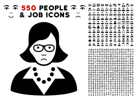 Pitiful Teacher Lady icon with 550 bonus sad and happy person icons. Vector illustration style is flat black iconic symbols.