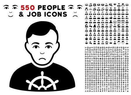 Sad Captain icon with 550 bonus pitiful and happy men design elements. Vector illustration style is flat black iconic symbols. Çizim