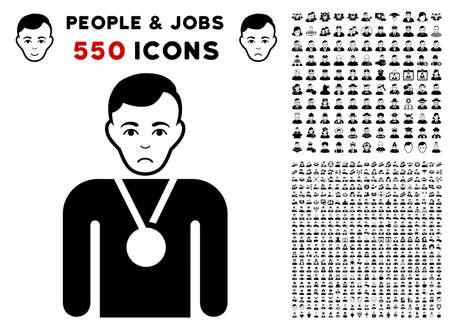 Pitiful Champion icon with 550 bonus sad and happy people symbols. Vector illustration style is flat black iconic symbols. Illustration