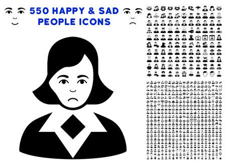 Pitiful Woman pictograph with 550 bonus pitiful and glad person pictographs. Vector illustration style is flat black iconic symbols.
