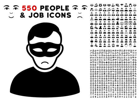Dolor Anonymous Person pictograph with 550 bonus pitiful and happy men symbols. Vector illustration style is flat black iconic symbols.