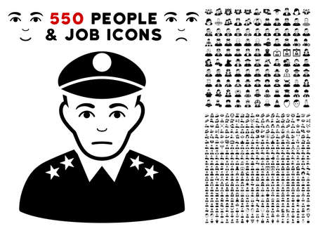 Sad Army General icon with 550 bonus pitiful and glad jobs images. Vector illustration style is flat black iconic symbols.