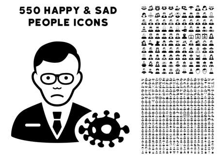 Pitiful Bacteriologist icon with 550 bonus pity and happy user pictograms. Vector illustration style is flat black iconic symbols.