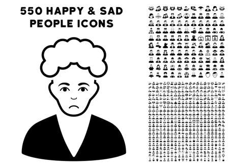 Sad Blonde Boy icon with 550 bonus pity and happy person pictures. Vector illustration style is flat black iconic symbols.