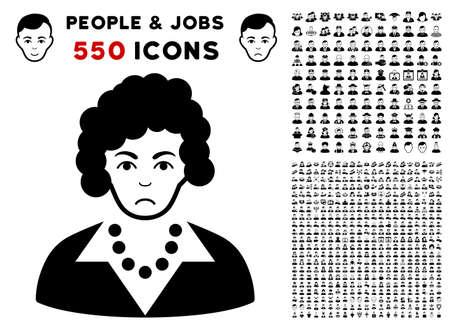 Pitiful Brunette Lady icon with 550 bonus pitiful and happy people design elements. Vector illustration style is flat black iconic symbols.