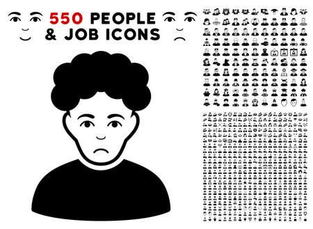 Unhappy Brunet Man pictograph with 550 bonus sad and happy person symbols. Vector illustration style is flat black iconic symbols.