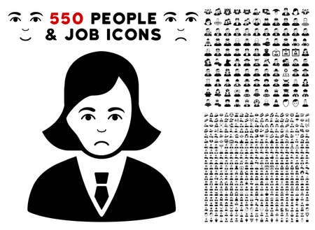 Sad Business Lady pictograph with 550 bonus pity and glad men symbols. Vector illustration style is flat black iconic symbols.