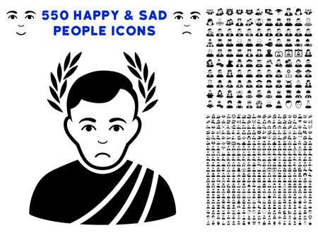 Sad Caesar Wreath pictograph with 550 bonus pitiful and happy jobs symbols. Vector illustration style is flat black iconic symbols.